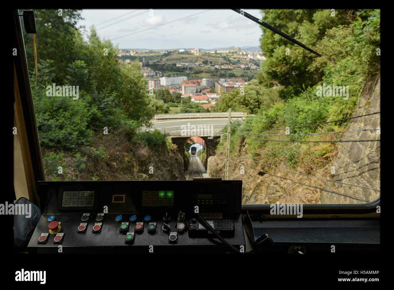 The funicular Larreineta, in the Valley of Trapaga, Trapagaran, Bilbao, Basque Country, Spain. Stock Photo