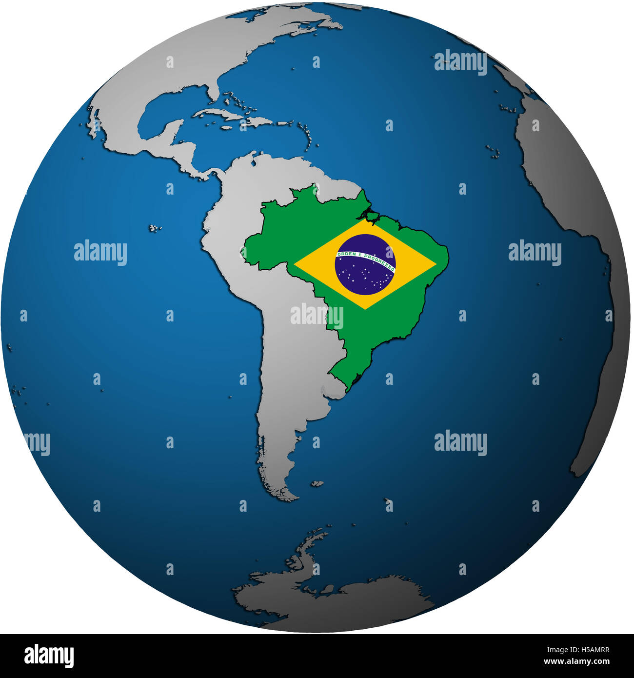 Map with flag of brazil on isolated over white map of globe stock map with flag of brazil on isolated over white map of globe gumiabroncs Image collections
