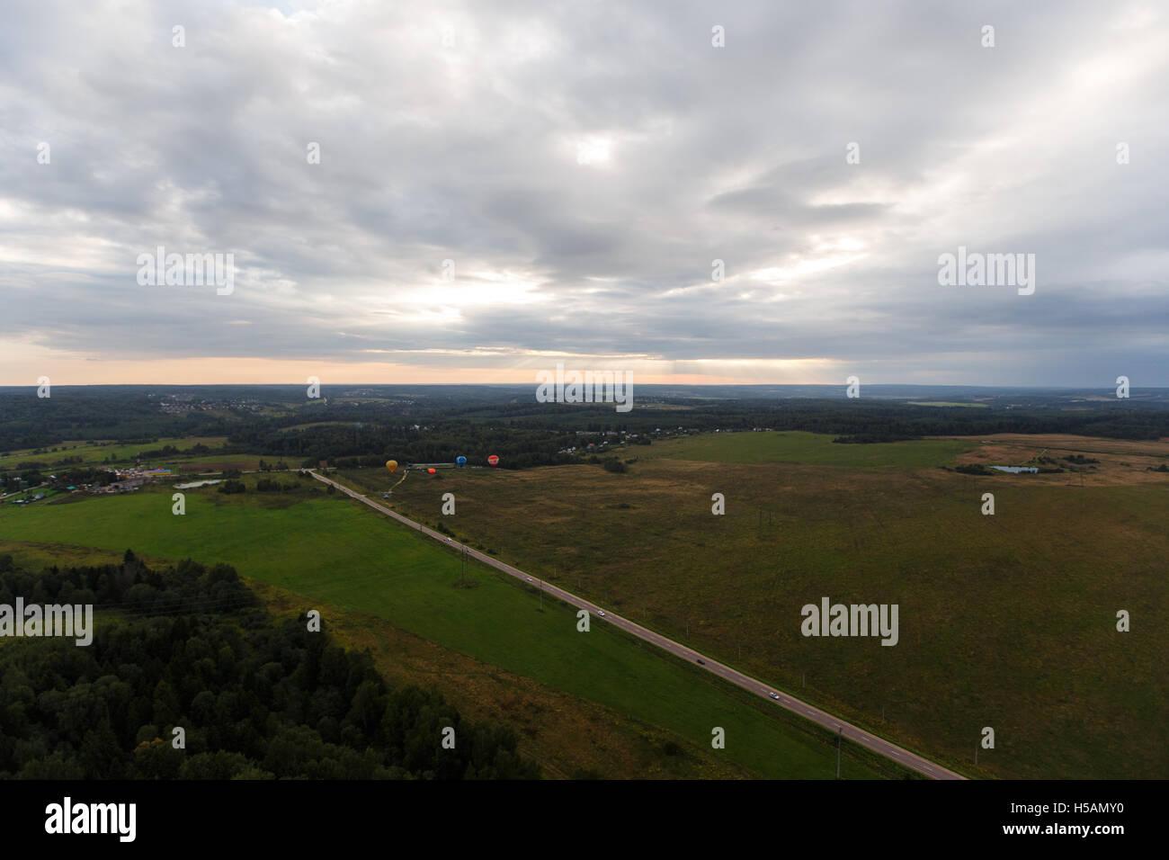 Bird's eye view of farm lands - Stock Image