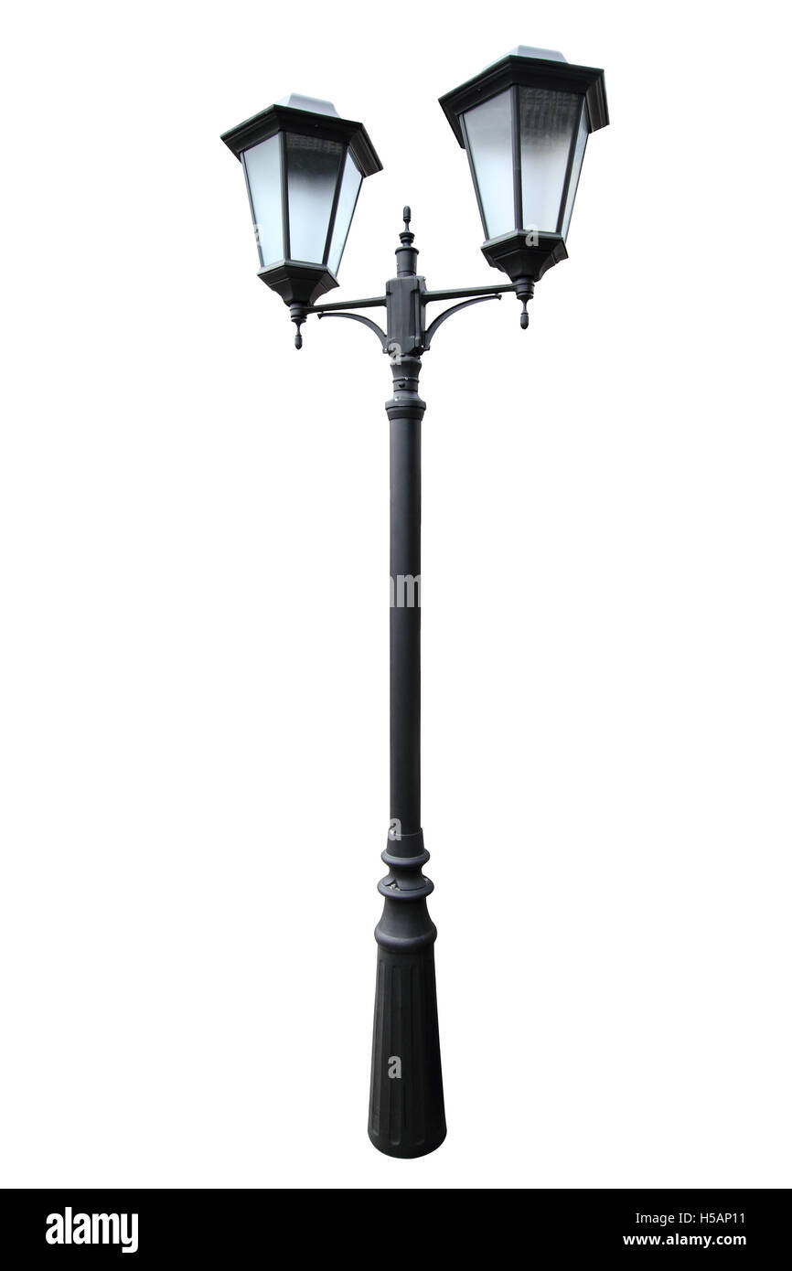 The classical street lantern isolated on a white background. - Stock Image