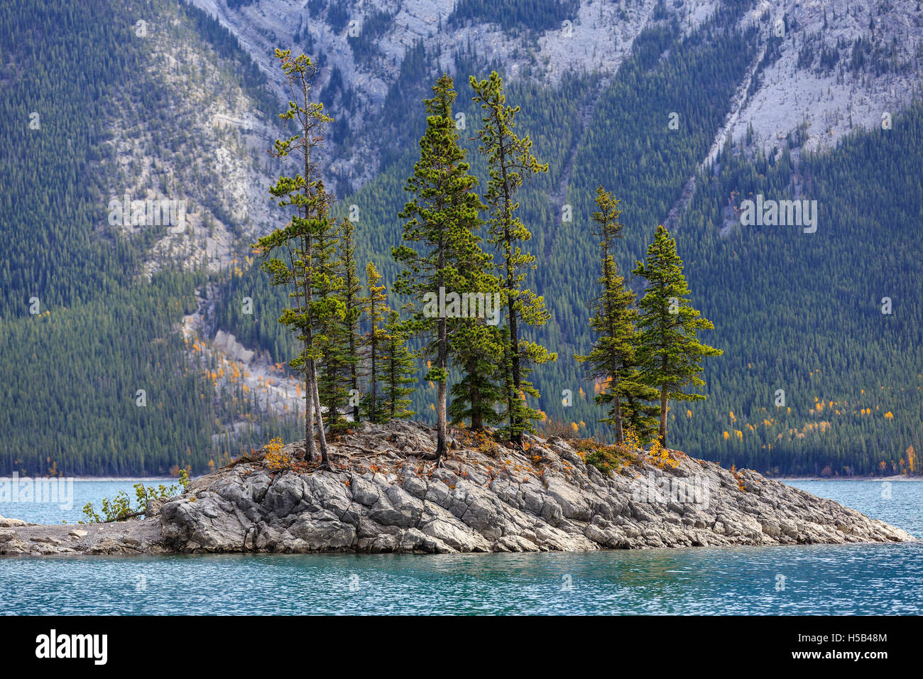 Rocky island on Lake Minnewanka, Banff National Park, Alberta, Canada. - Stock Image