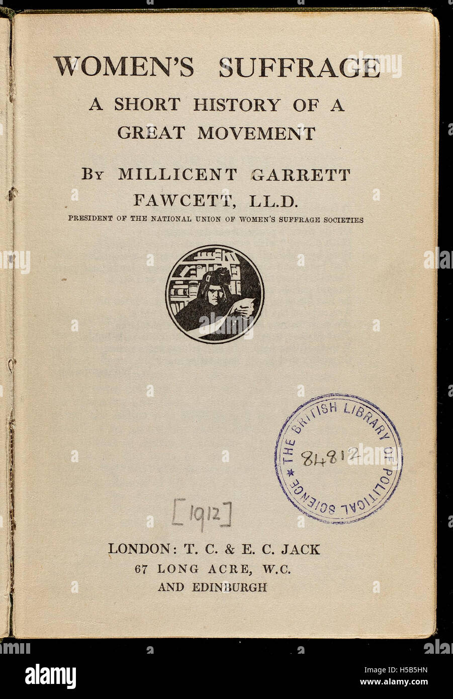 Women's Suffrage by Millicent Garrett Fawcett, 1912. - Stock Image