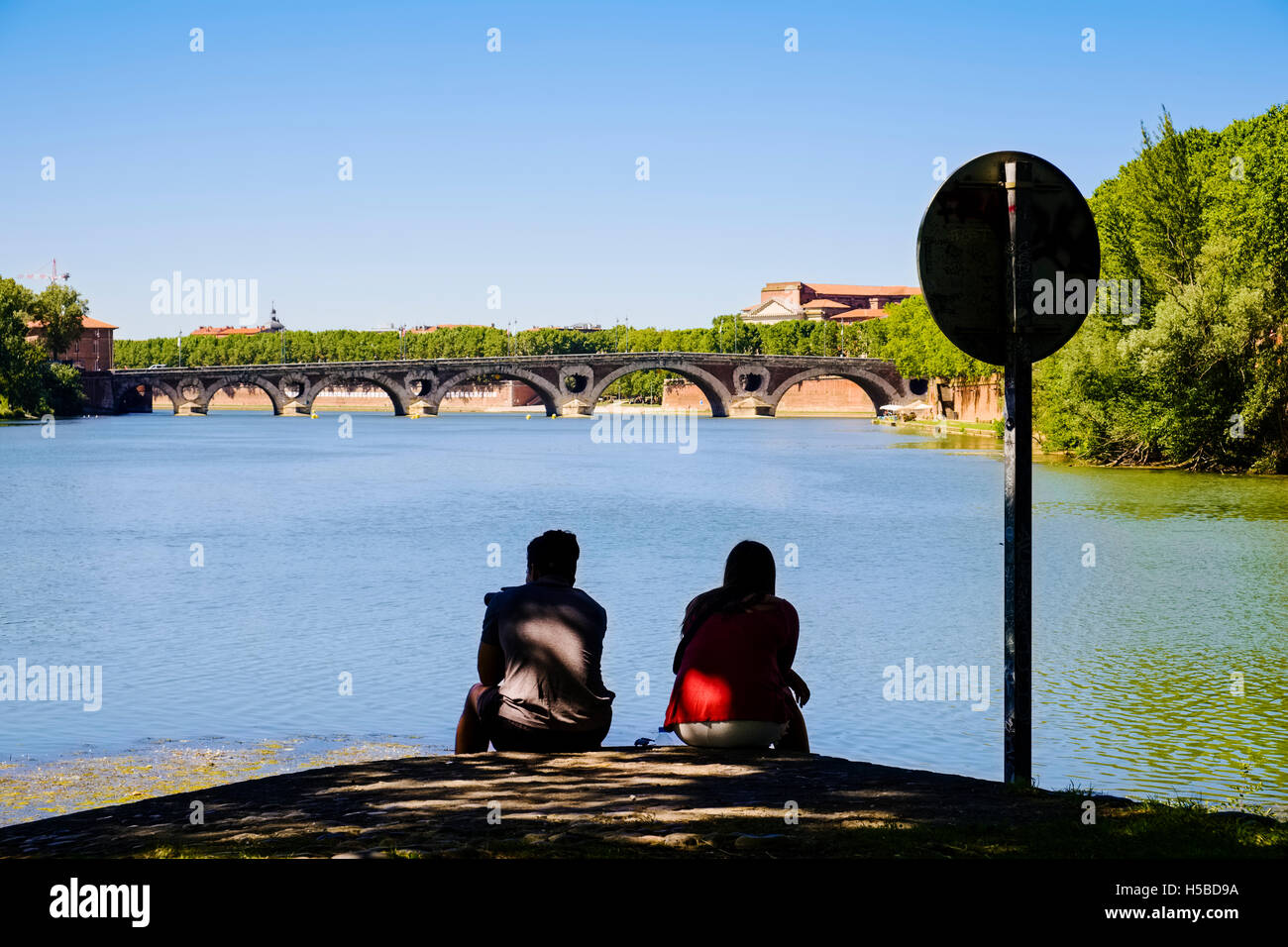 Ile du Ramier at River Garonne, Toulouse, France - Stock Image