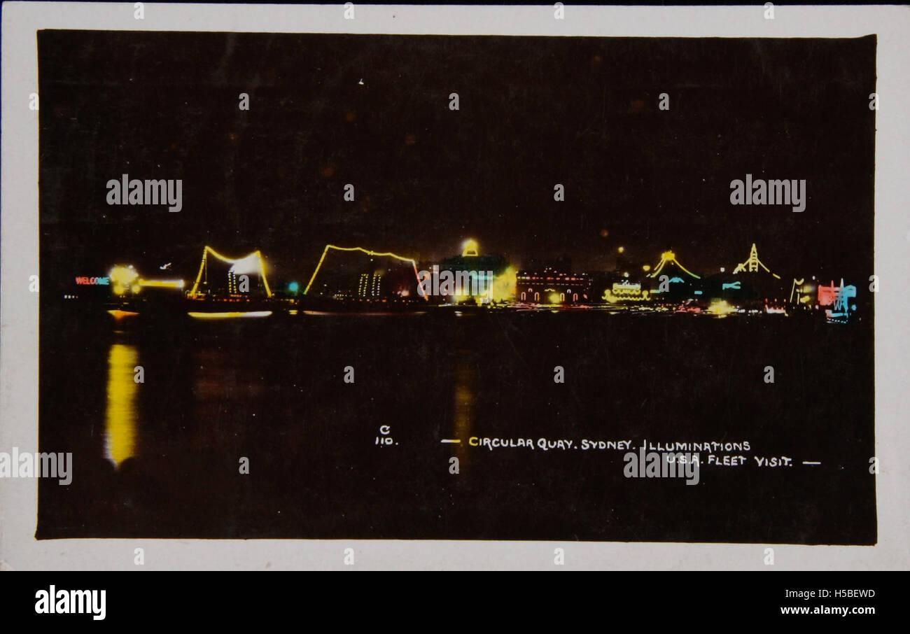 3 USA Fleet visit, Circular Quay, Sydney illuminated Stock Photo