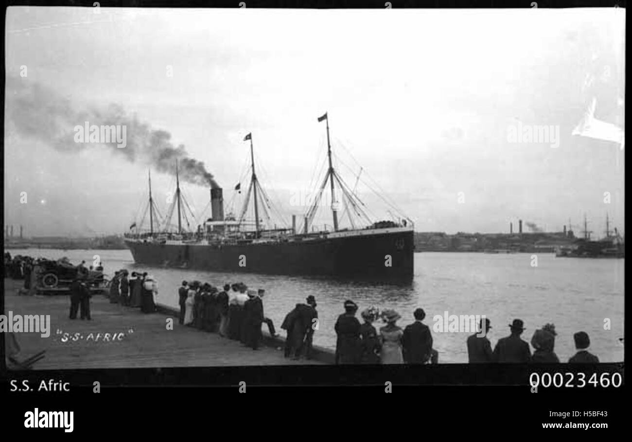 SS AFRIC of White Star Line, c 1908 - Stock Image