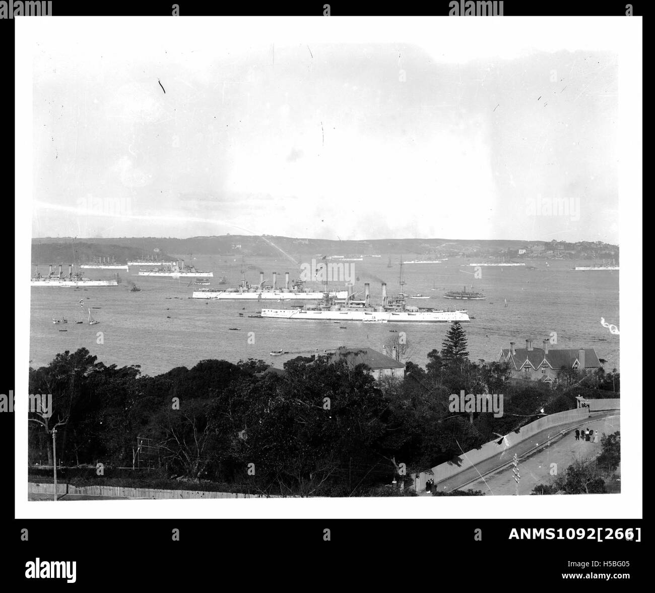 1908 visit of the American Great White Fleet, Sydney Harbour Stock Photo