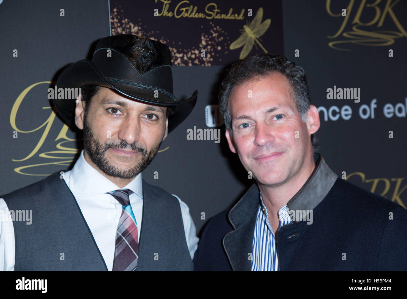 Cas Anvar and a guest attend 'GBK's Pre-Golden Globes Celebrity Gifting Suite' at W Hotel on January - Stock Image