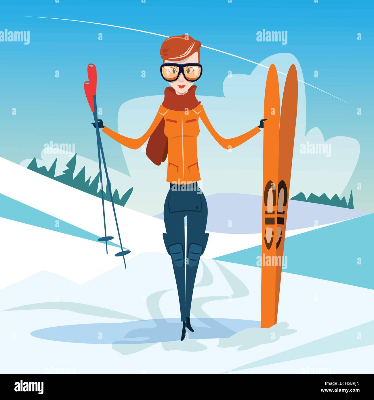654236e66cc Woman Standing Hold Ski Winter Activity Sport Vacation Snow Mountain Slope  - Stock Vector