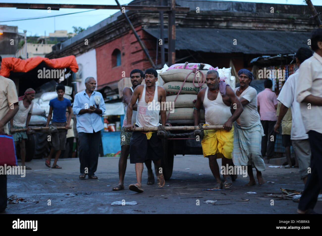 picture of hardworking labor class people,who still use hand pulled cart  in Kolkata's Posta Market, West Bengal, - Stock Image