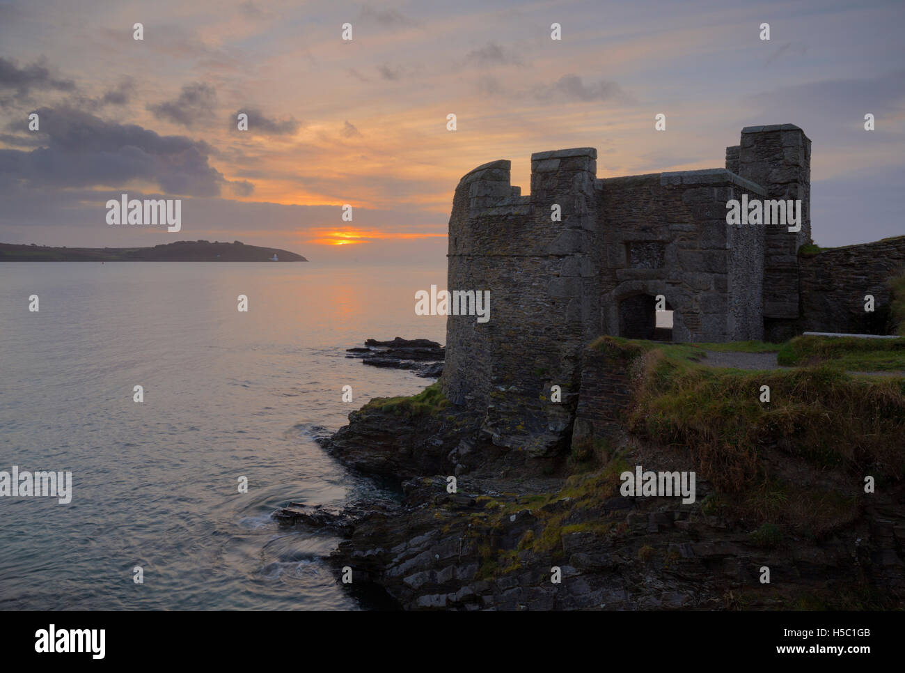 Dawn over Pendennis Point in Cornwall, looking across Carrick Roads towards St Anthony Head - Stock Image