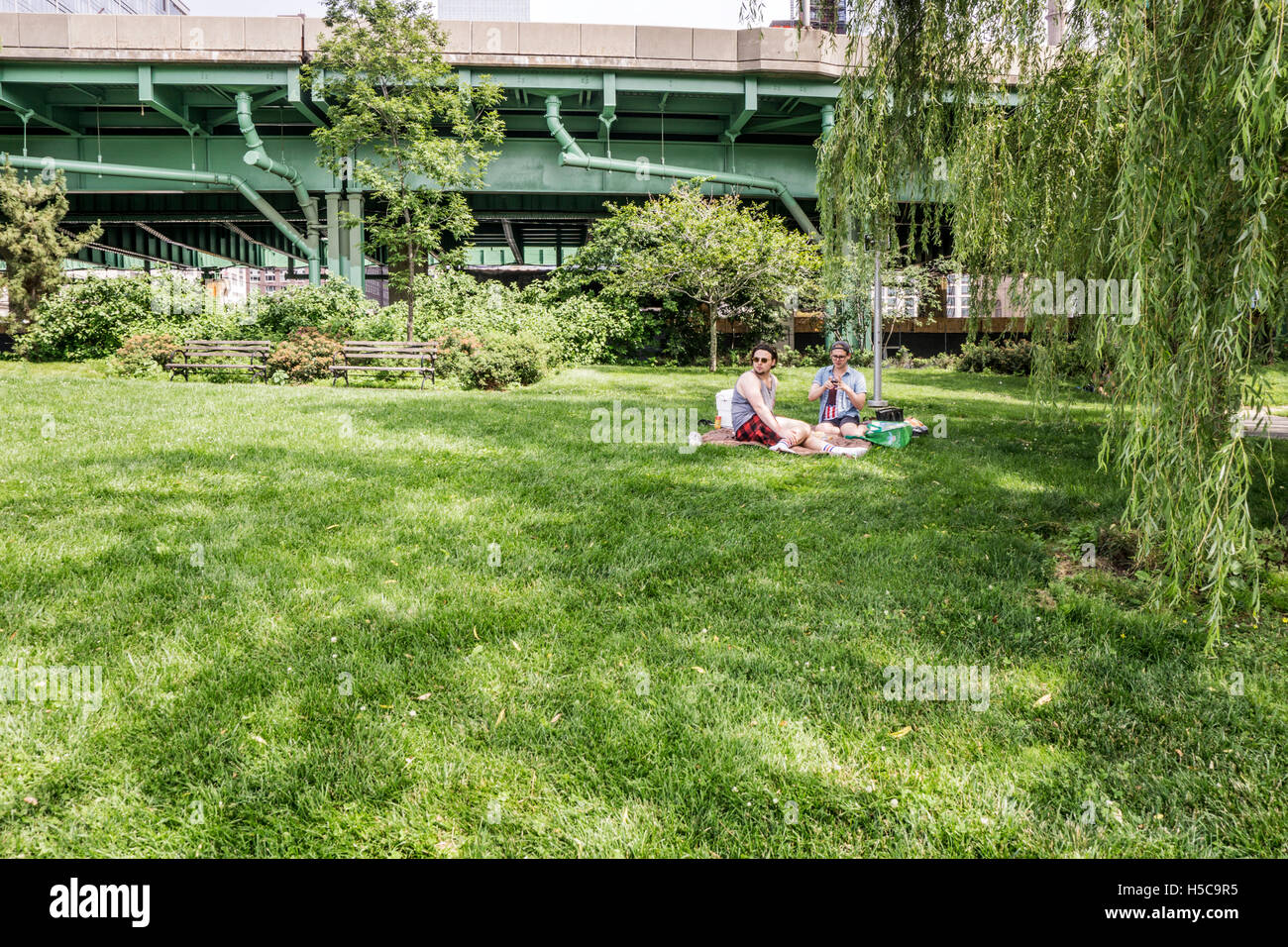 2 guys with picnic supplies sit on a blanket in shade of willow tree on a glorious sunny 4th of July Riverside park - Stock Image