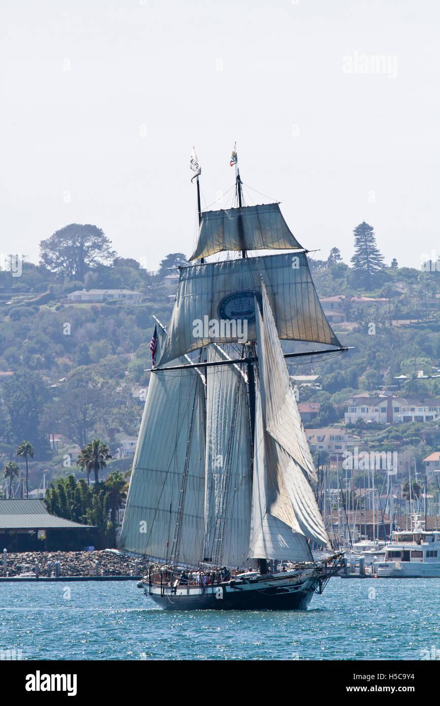 Tall ship Californian passing Shelter Island, 2016 Festival of Sail, Parade of Ships, San Diego Bay, CA - Stock Image
