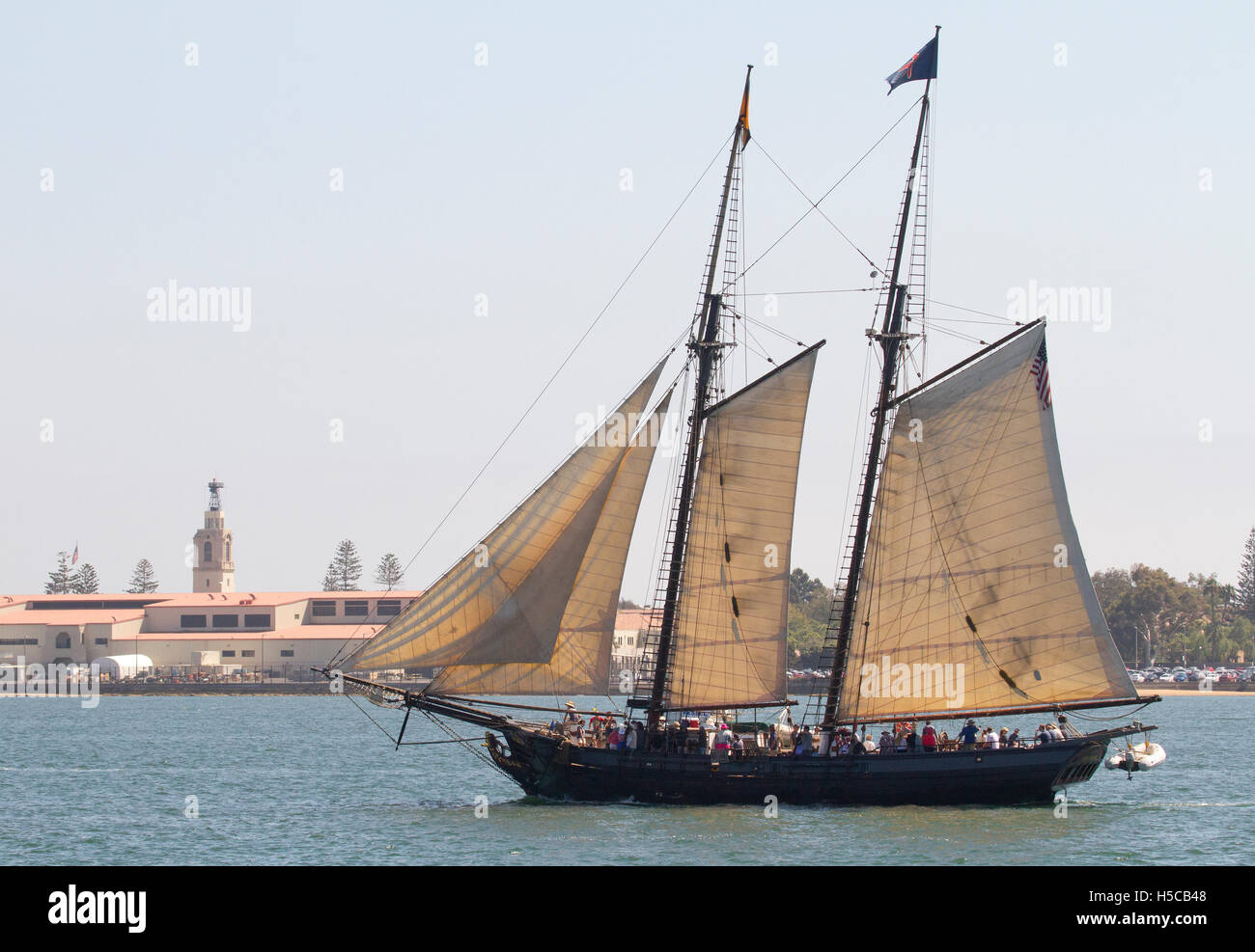 Tall ship Spirit of Dana Point in 2016 Festival of Sail, Parade of Ships, San Diego Bay, CA - Stock Image