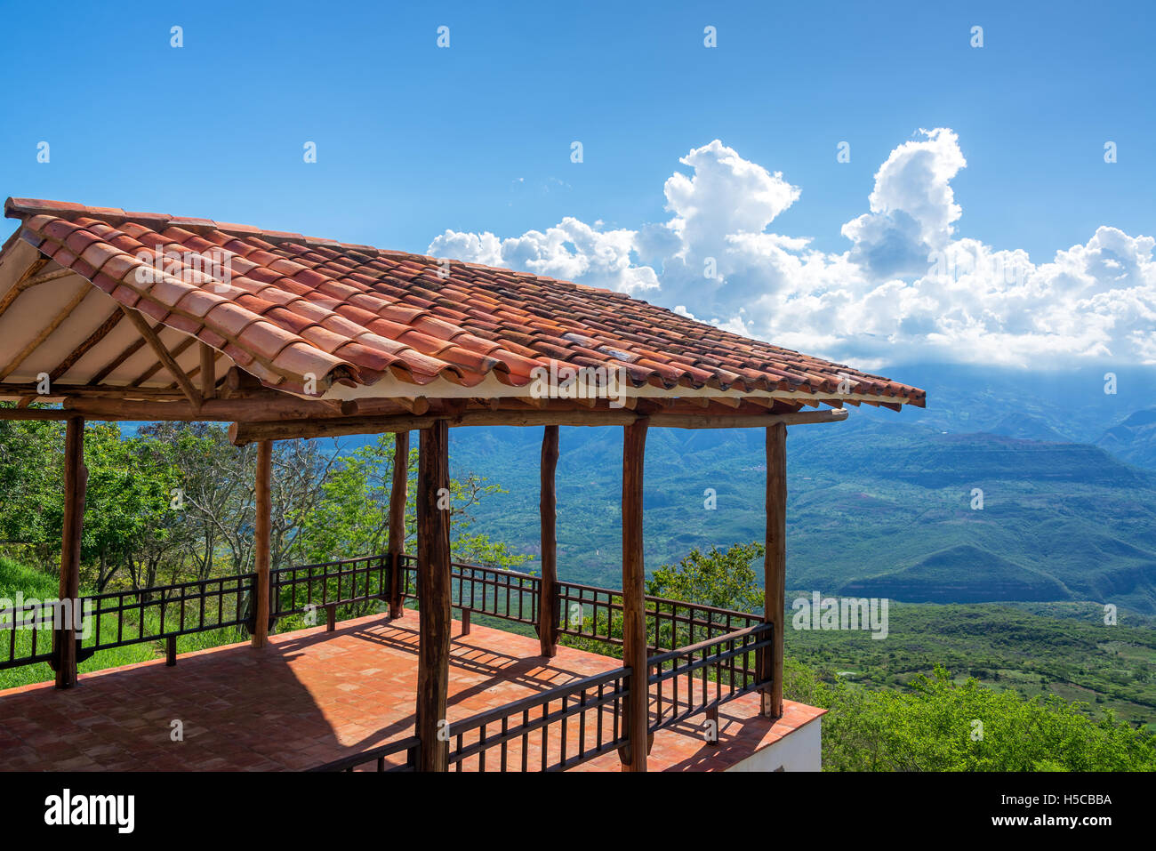 Viewpoint on the outskirts of the historic colonial village of Barichara, Colombia - Stock Image