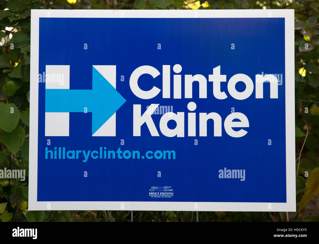 2016 US presidential campaign sign for democrats Hillary Clinton and Tim Kaine - Stock Image