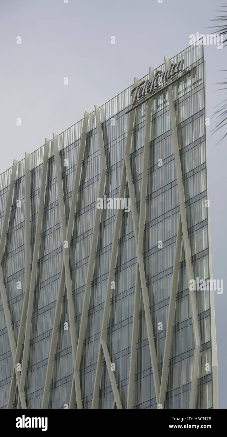 Telefonica phone company in Barcelona - Stock Image