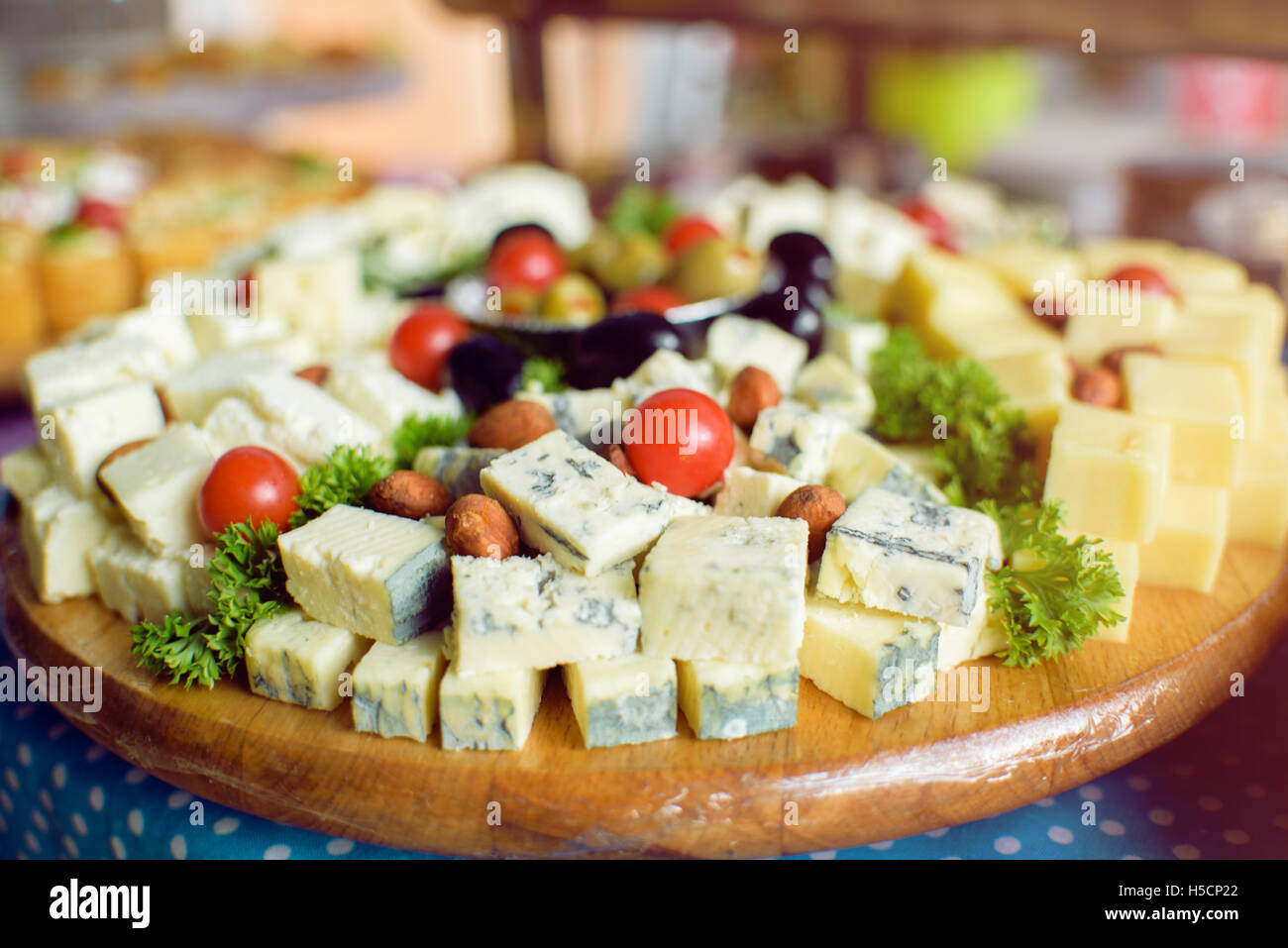 Blue cheese and catering food - Stock Image
