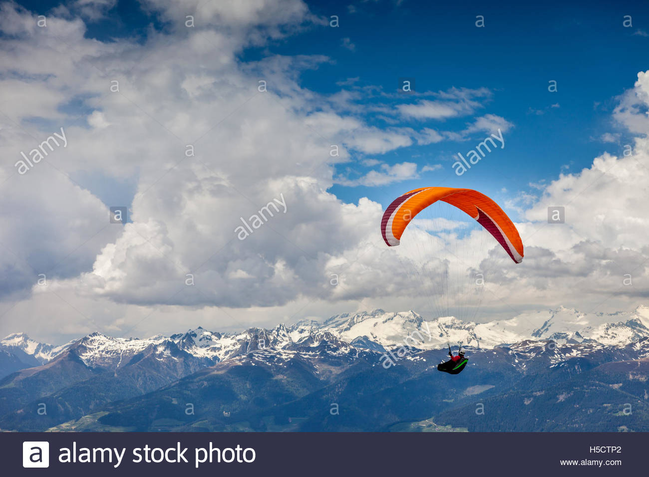 Paraglider above Brunico, South Tyrol, Italy Stock Photo