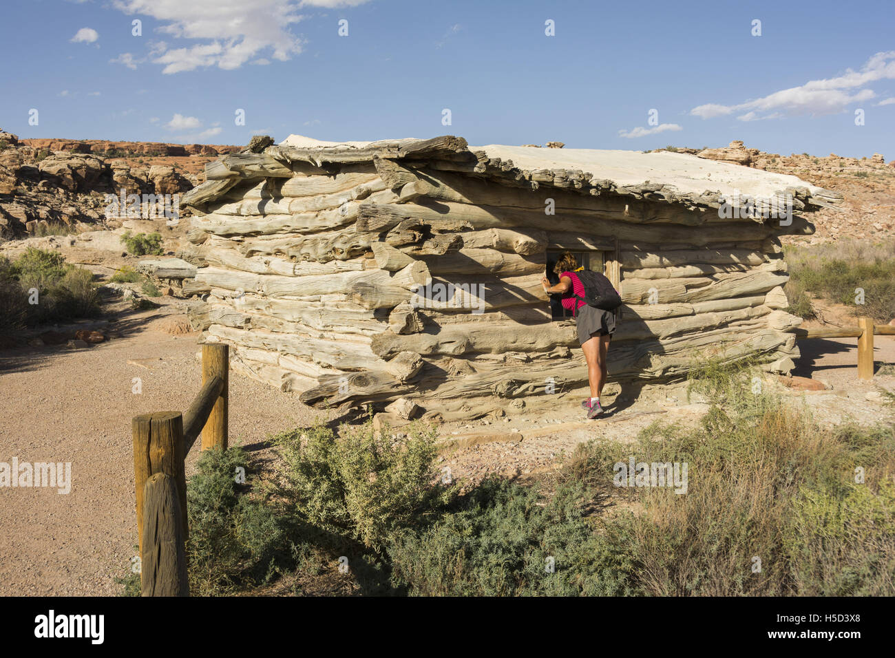 Utah, Arches National Park, Wolf Ranch (Turnbow Cabin) - Stock Image