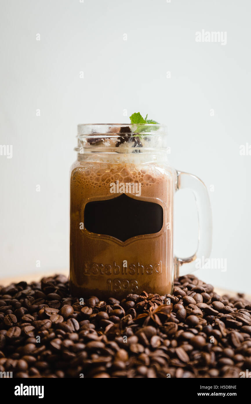 Russian coffee with cream unusual submission - Stock Image