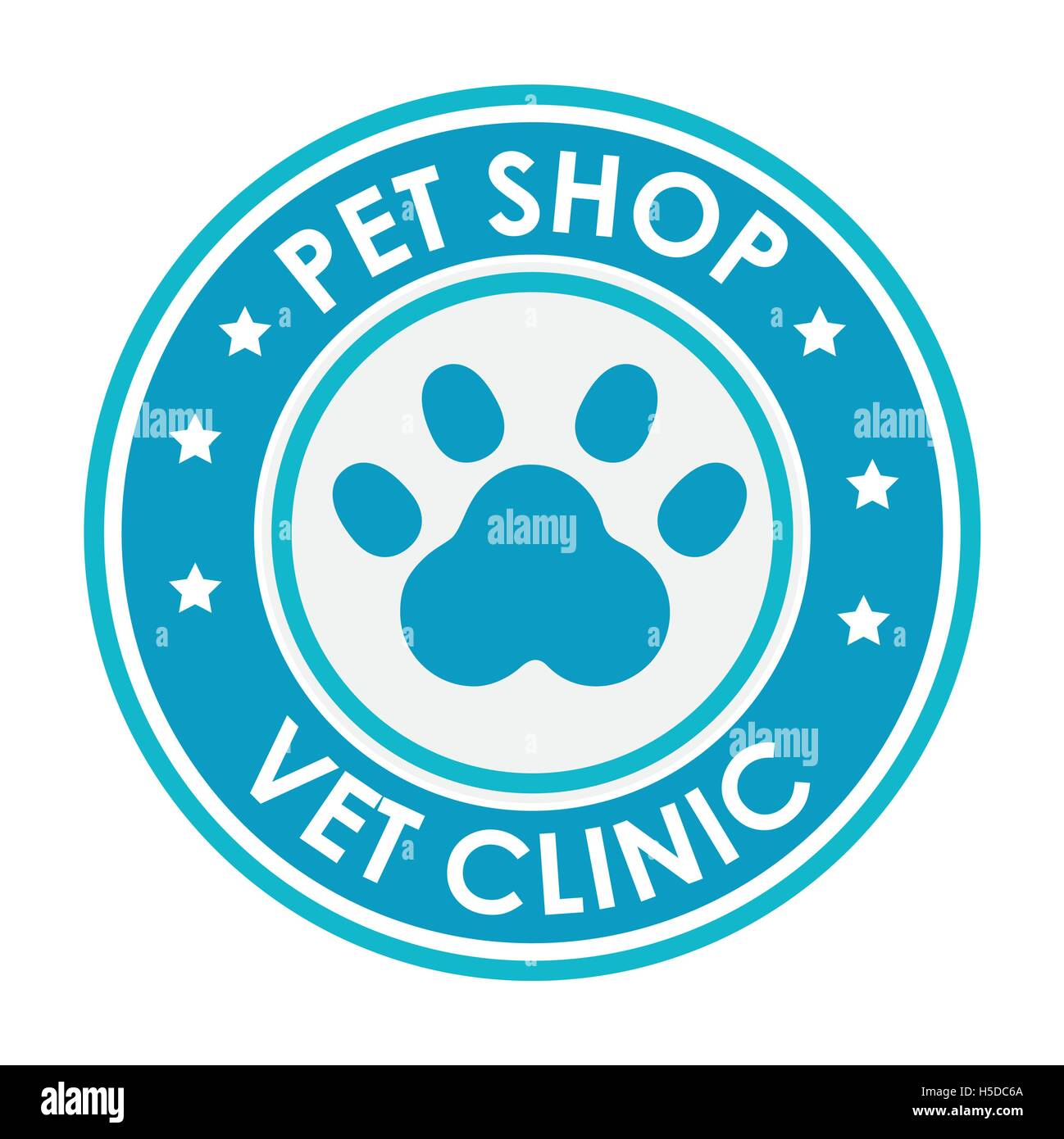 stamp pet shop vet clinic with blue paw - Stock Image