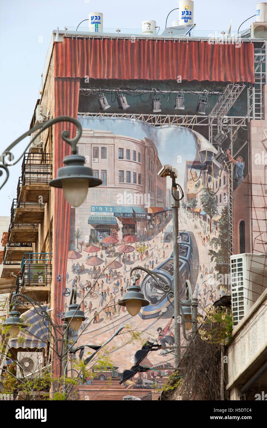 Mural of the light rail tram line on a building of Jaffa Road. Jerusalem, Israel. - Stock Image
