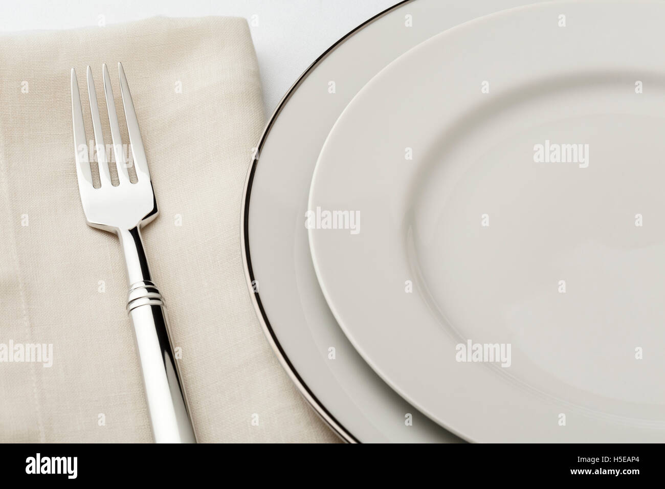 Fine dining table setting place setting with high quality classic style white china dishes linen napkin and silverware fork & Fine dining table setting place setting with high quality classic ...