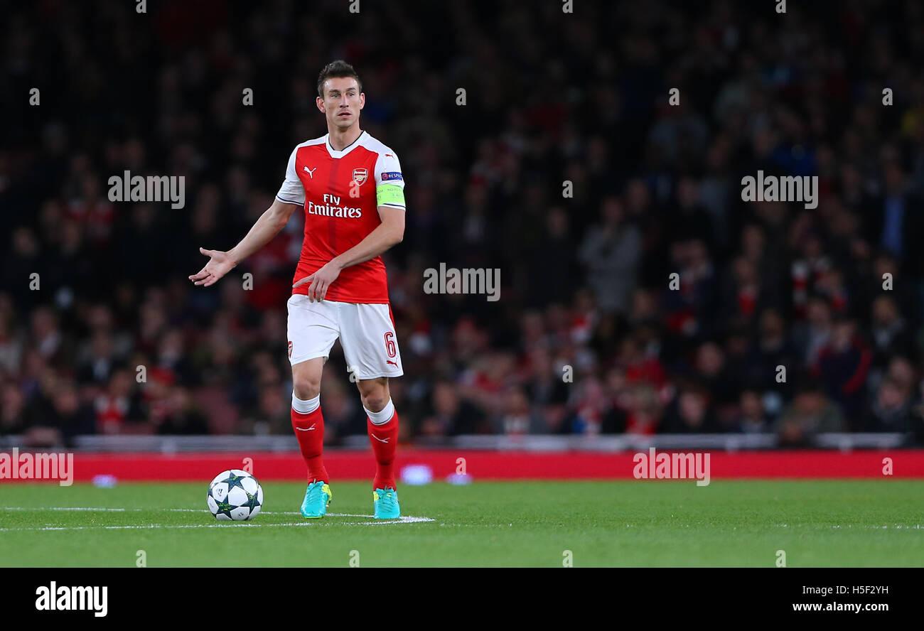 Emirates Stadium, London, UK. 19th Oct, 2016. Arsenal's Laurent Koscielny during the UEFA Champions League match - Stock Image