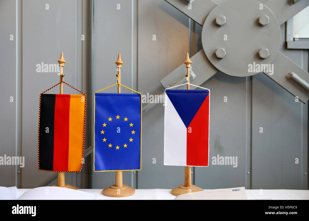 Deutschneudorf, Germany. 19th Oct, 2016. The German, European and Czech flag can be seen in Deutschneudorf, Germany, - Stock Image