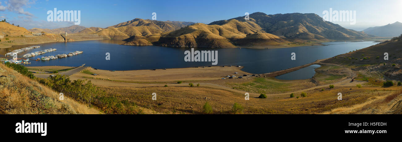 Lake Kaweah reservoir, Tulare County CA (San Joaquin Valley) Panorama Stock Photo