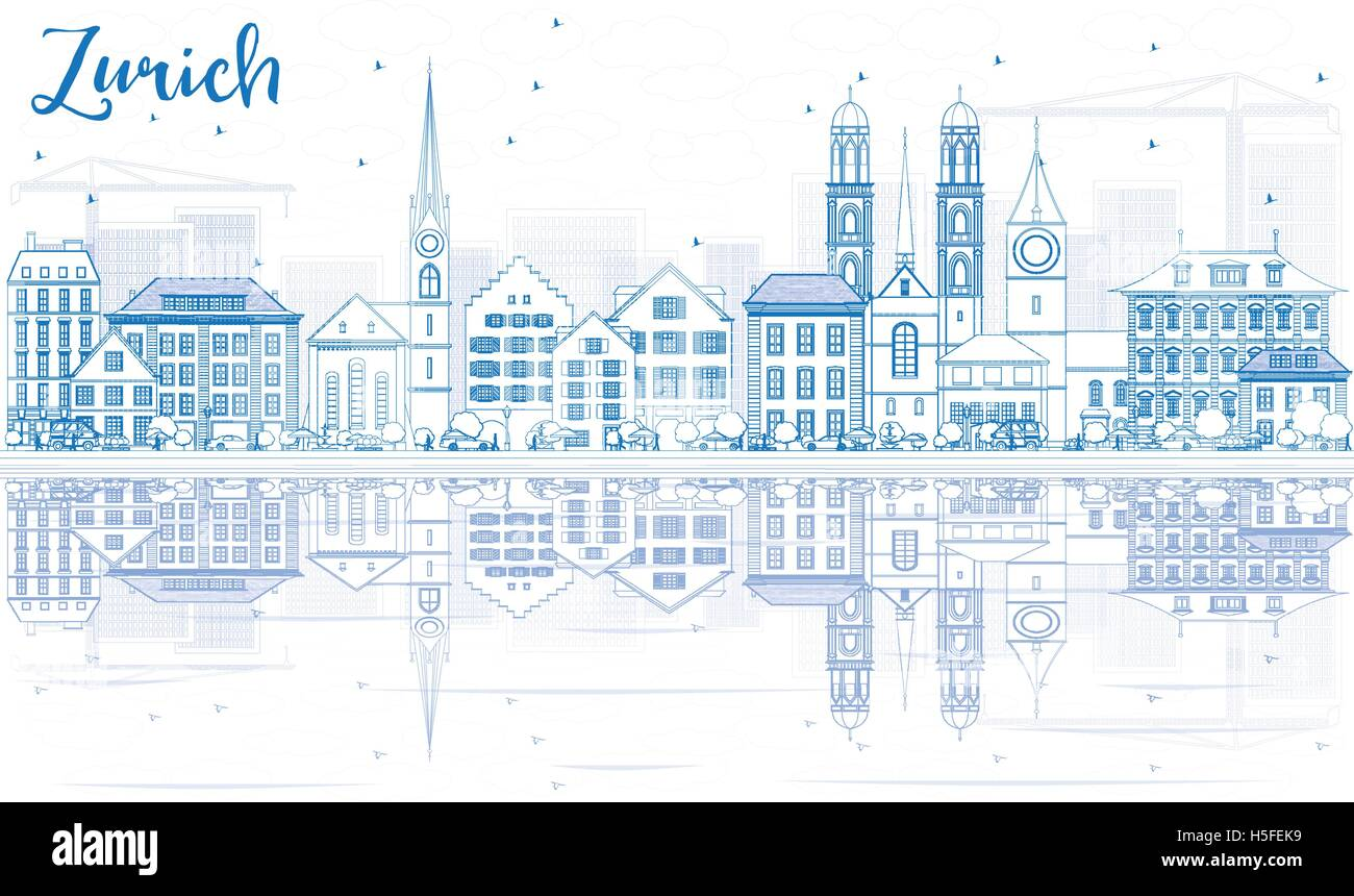 Outline Zurich Skyline with Blue Buildings and Reflection. Vector Illustration. Business Travel and Tourism Concept - Stock Vector