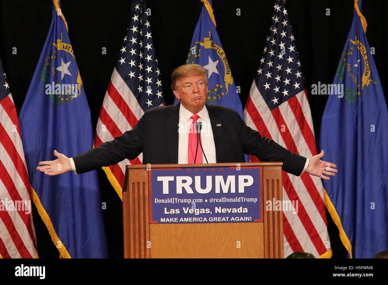 Donald J. Trump speaking at a rally at the South Point Resort and Casino on January 21st, 2016 in Las Vegas Nevada. - Stock Image