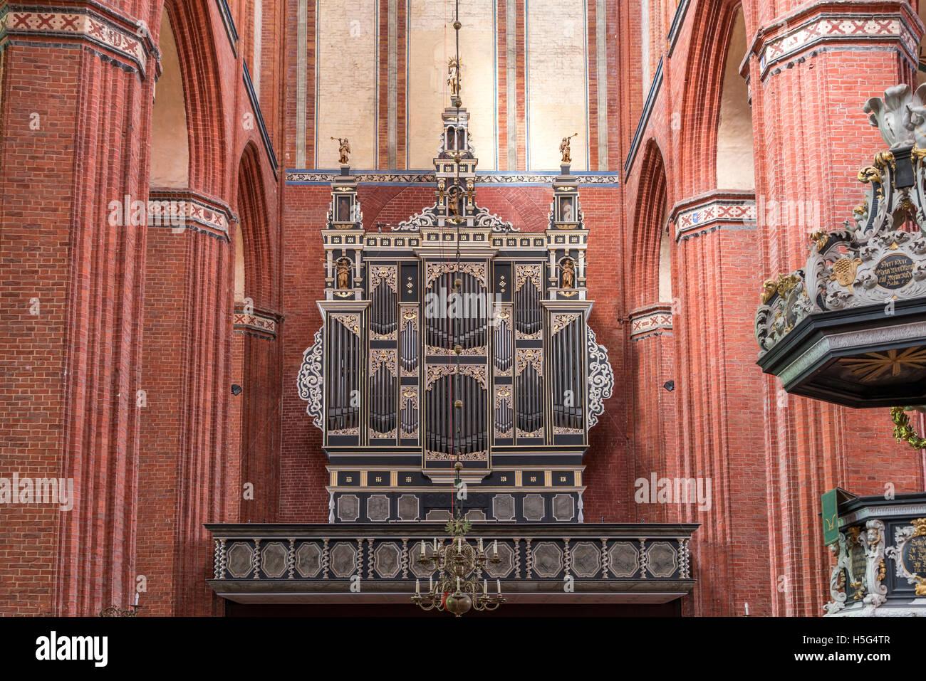 St. Nicholas church organ, Hanseatic City of Wismar, Mecklenburg-Vorpommern, Germany - Stock Image