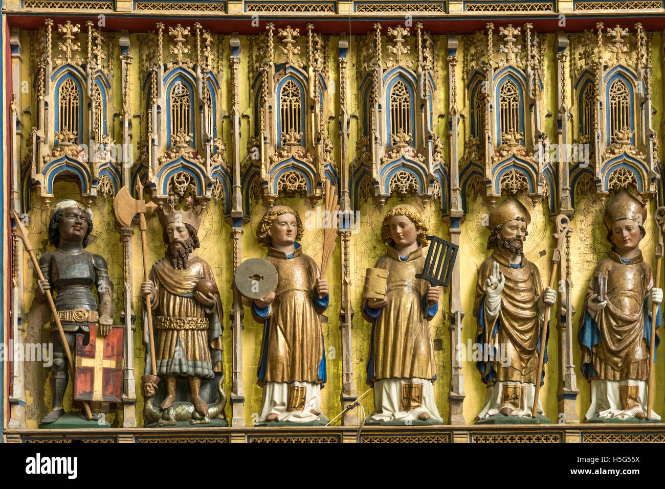 Church St. Nicholas altar detail , Hanseatic City of Wismar, Mecklenburg-Vorpommern, Germany Stock Photo