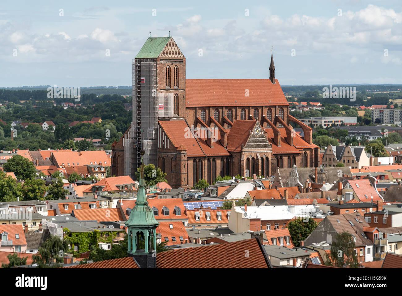 Church St. Nicholas, Hanseatic City of Wismar, Mecklenburg-Vorpommern, Germany - Stock Image