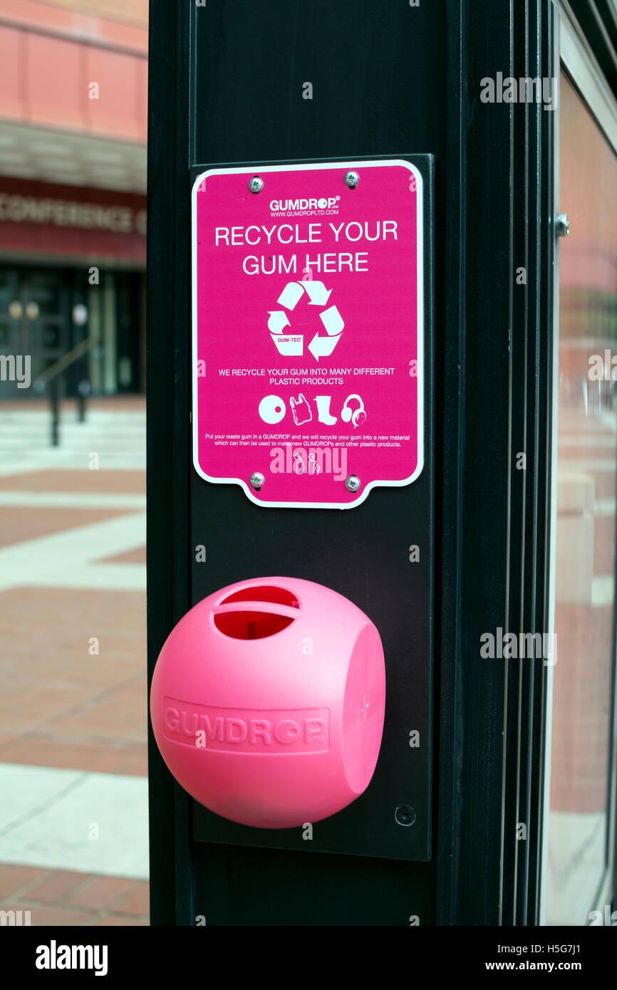 Waste gum receptacle outside the British Library, London, UK - Stock Image