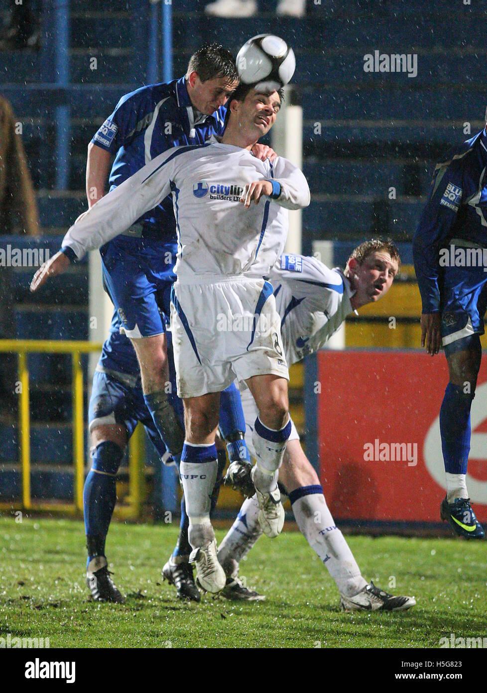 George Beavan of Grays rises above Tim Sills of Torquay - Grays Athletic vs Torquay United - Blue Square Premier - Stock Image
