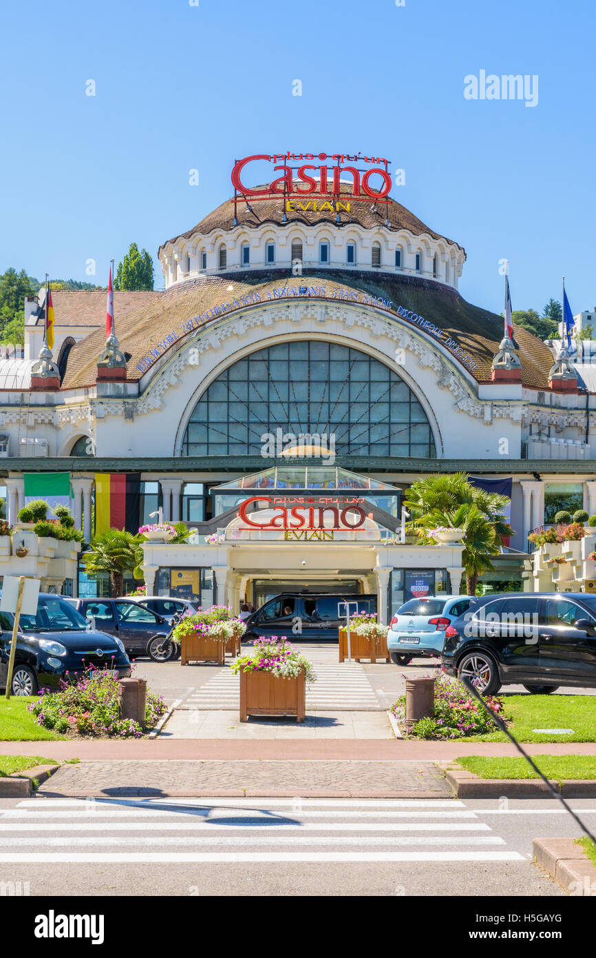 The ornate facade of the historic Casino d'Evian, Évian-les-Bains, France - Stock Image