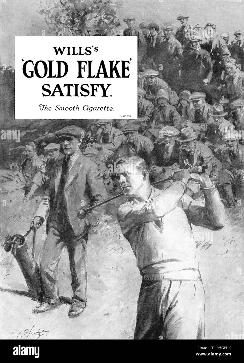 Vintage 1930 British advertisement for Will's Gold Flake cigarettes. - Stock Image