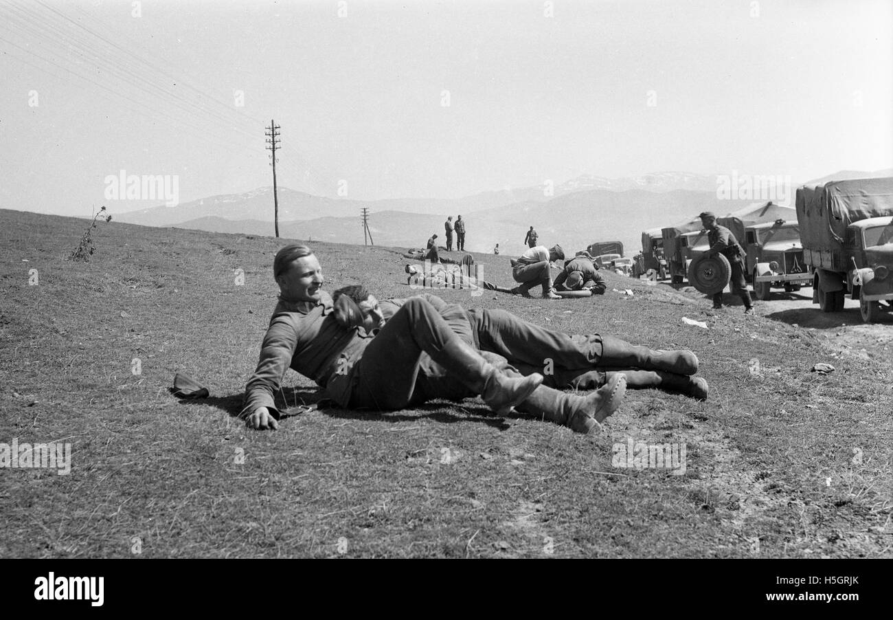 German soldiers relaxing in the Ardennes region France during World War Two - Stock Image