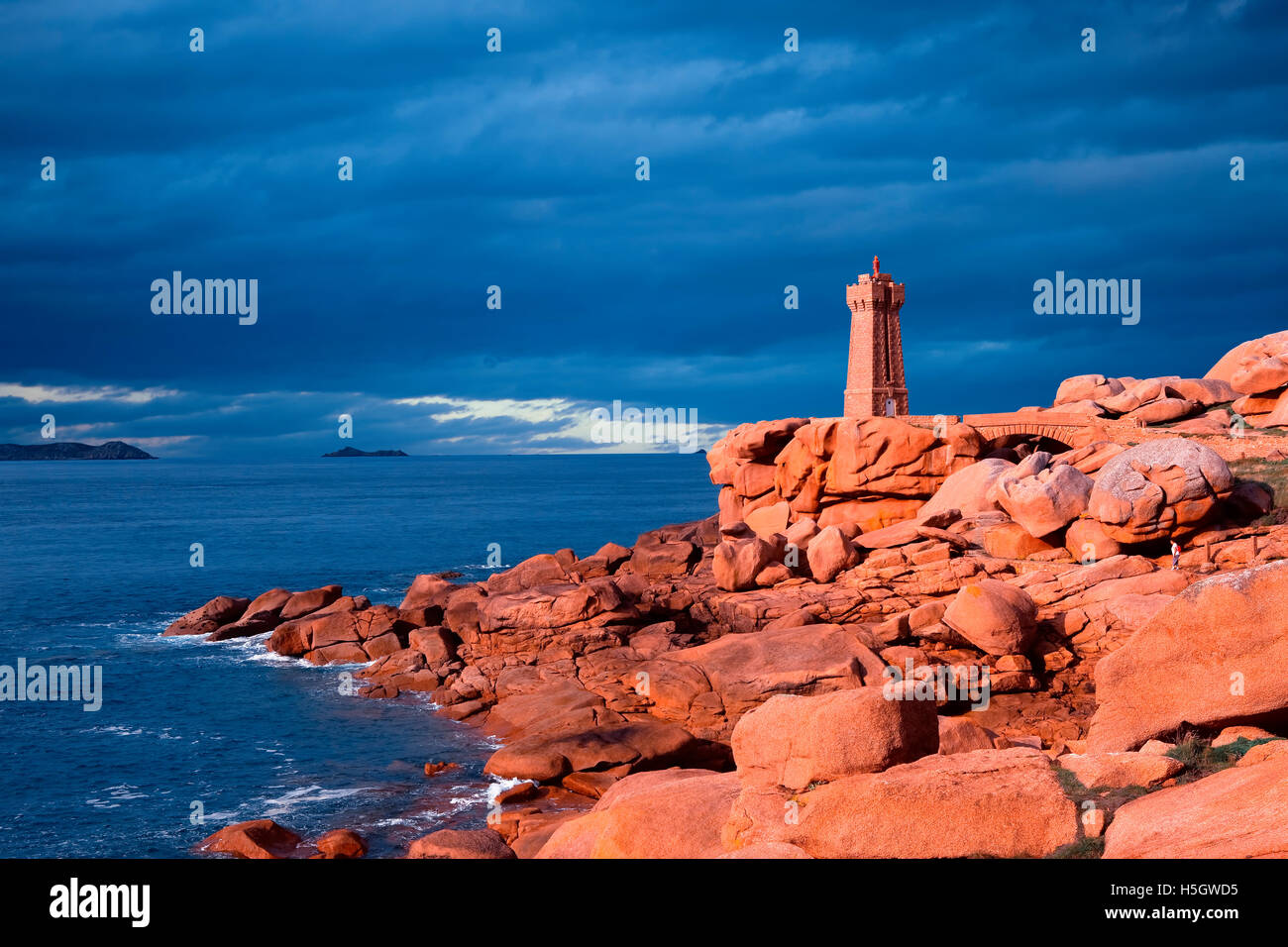 Ploumanac'h lighthouse in Brittany, France - Stock Image