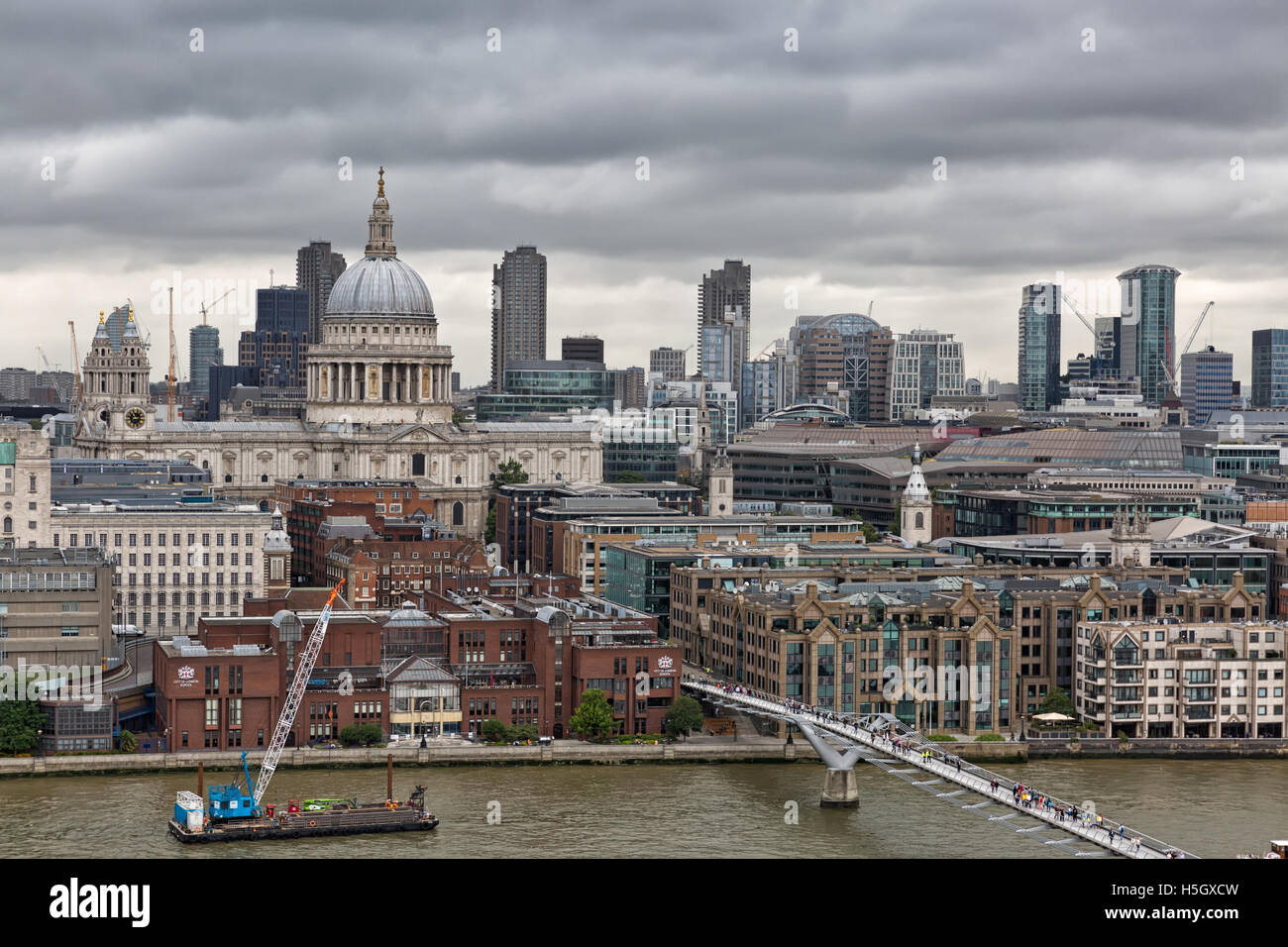London, UK - July 2016:  View from a tall building of the imposing St Paul's Cathedral in the City of London - Stock Image