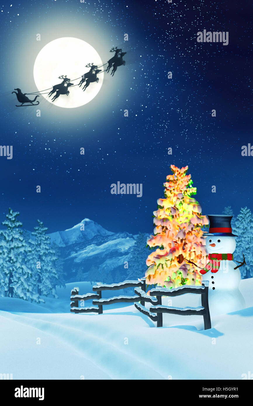 A Snowman In Moonlit Snowy Christmas Landscape At Night Under Full Moon The