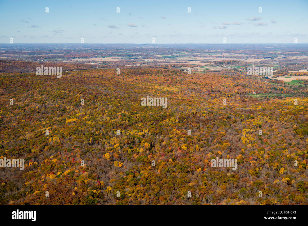 Aerial view of the Baraboo Hills, Sauk County, Wisconsin Stock Photo ...