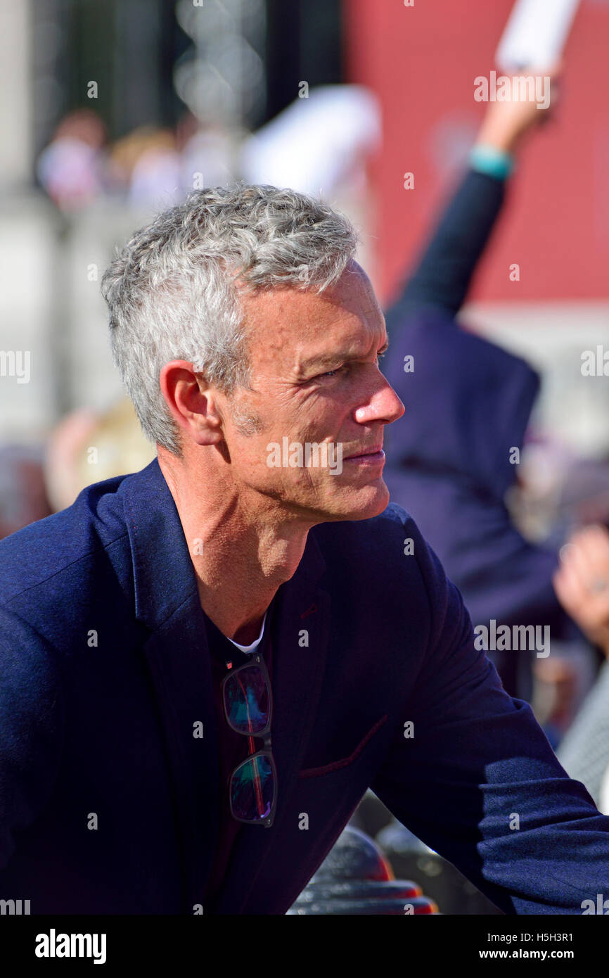 Mark Foster - BBC sports commentator and former Olympic swimmer - at the Heroes Return celebrations for the Rio - Stock Image