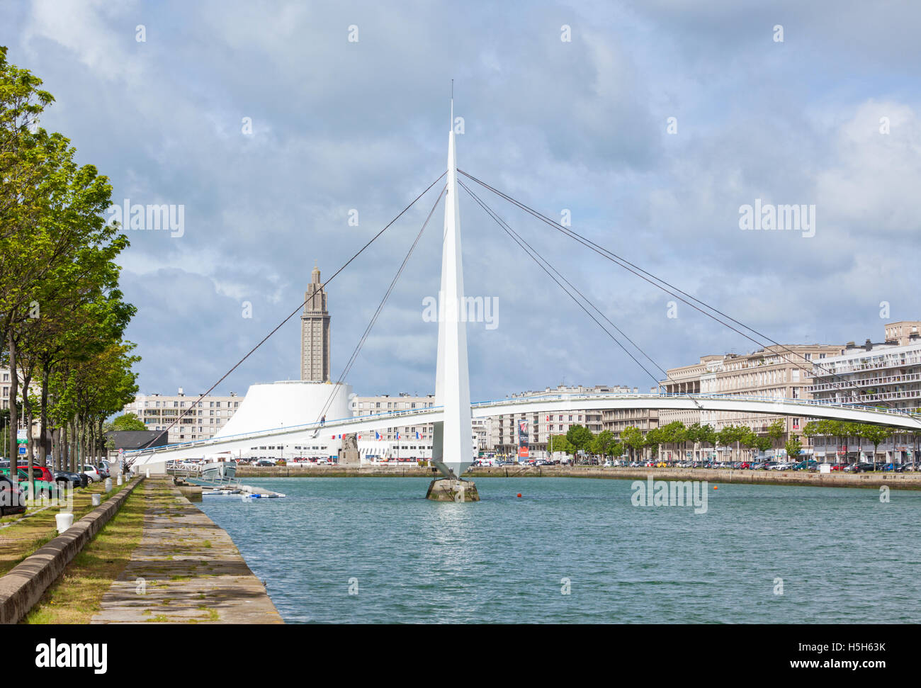 Bassin du Commerce at the centre of Le Havre, France - Stock Image