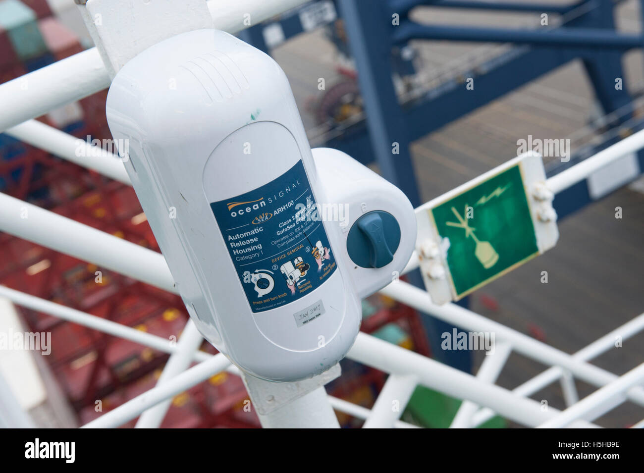 SOLAS Class 2 EPIRB in automatic release housing on ship's bridge - Stock Image