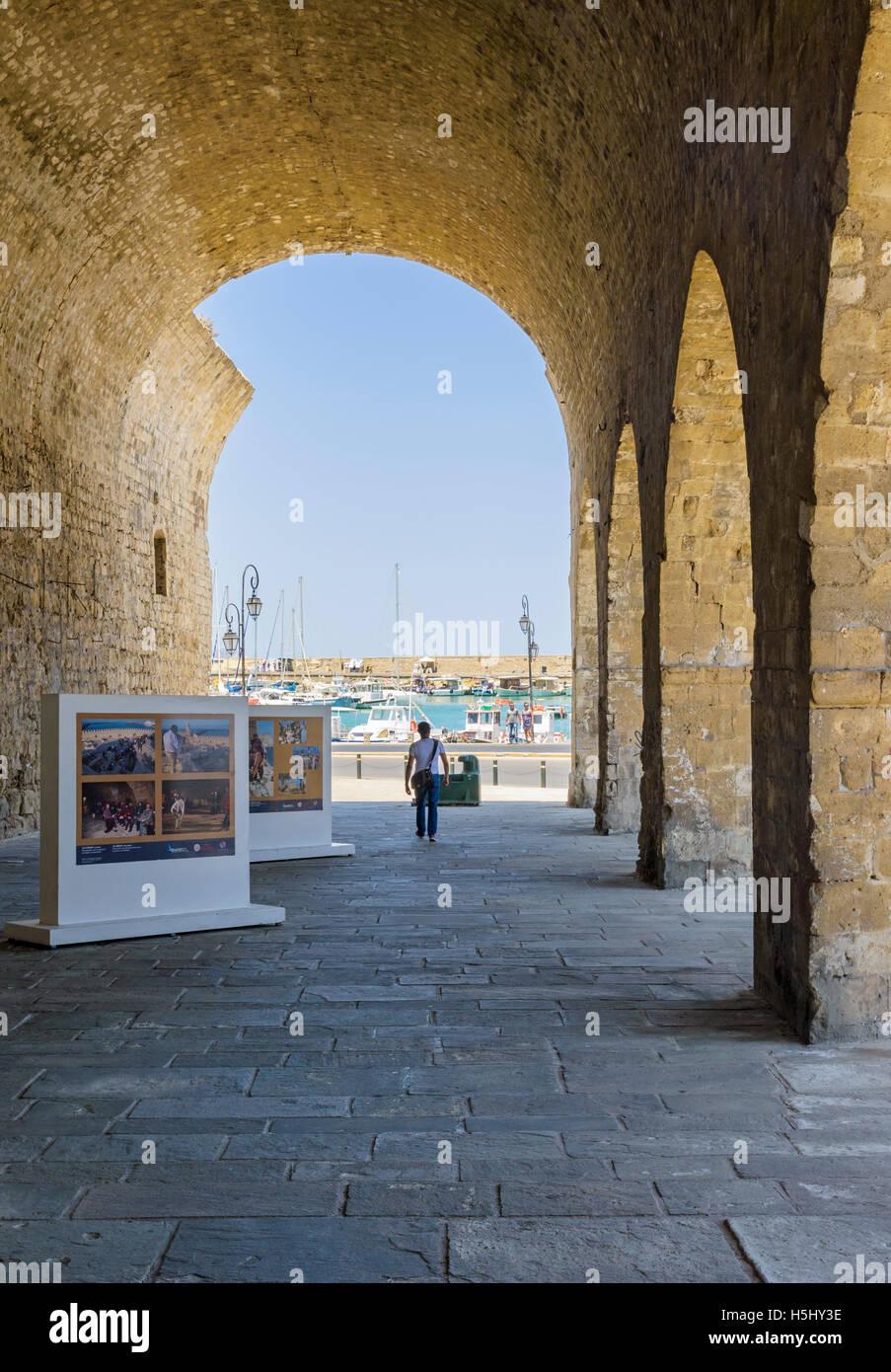Inside the old Venetian Arsenals, Heraklion, Crete, Greece - Stock Image
