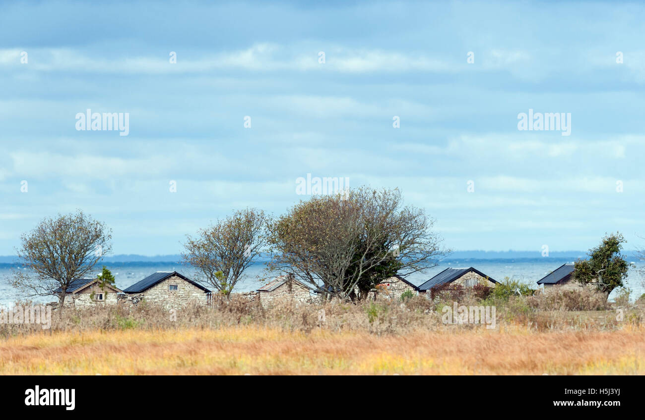 Old stone houses by the Baltic Sea - Stock Image