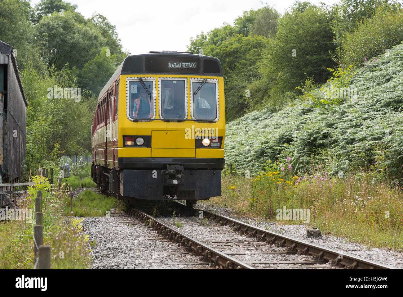 British Rail Class 141 diesel railcar, approaching Swanwick Junction, run by the Midland Railway Centre - Stock Image